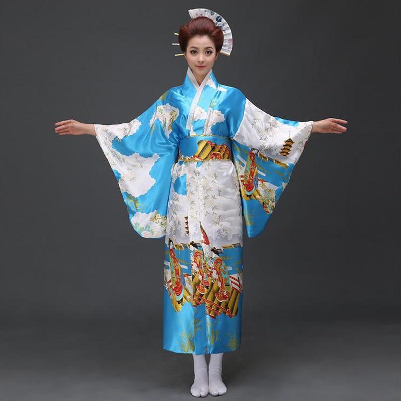 Japanese Dressing Gown: Blue Traditional Japanese Women Kimono Yukata With Obi