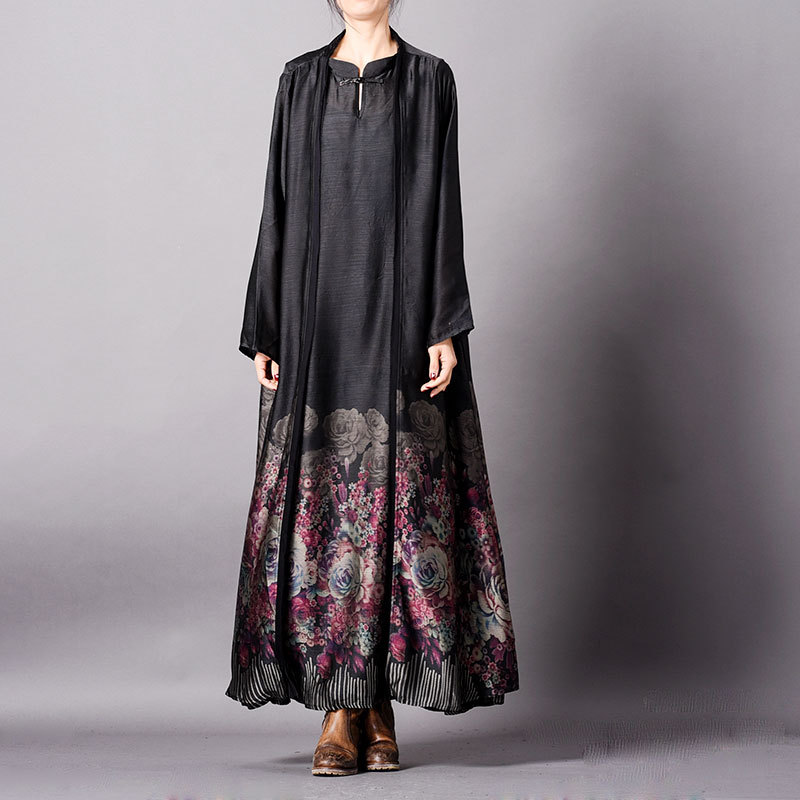 Women Spring Summer Sleeveless Dress Long Outwear Coat Female Printed Tank Dress Long Overcoat Ladies Print