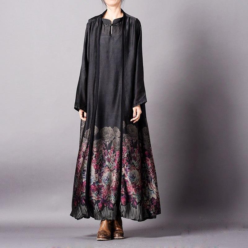 Kobiety wiosna letnia sukienka bez rękawów + długi znosić płaszcz kobieta drukowane zbiornika sukienka + długi płaszcz panie druku 2019 zestawy w Zestawy damskie od Odzież damska na  Grupa 1