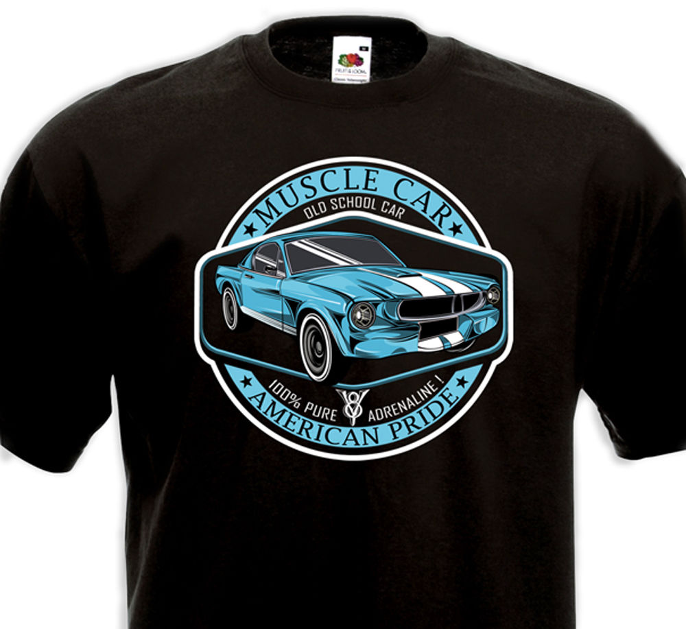 Funny Clothing Casual Short Sleeve Tshirts Muscle Car American Pride
