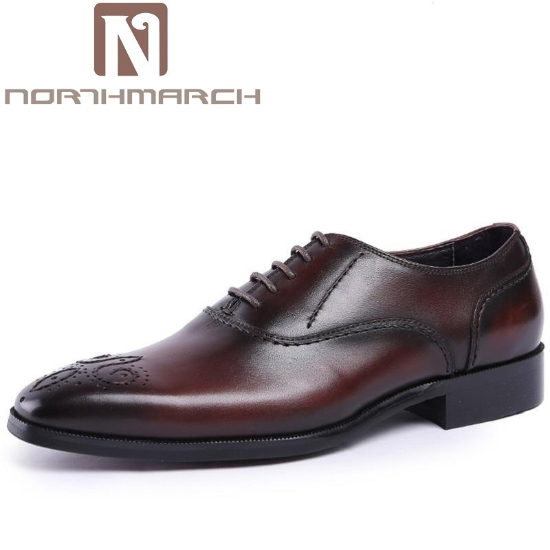 NORTHMARCH Genuine Leather Luxury Italian Brogue Business Formal Dress Men Shoes British Style Classic Office Wedding Mens Shoes 2017 new fashion italian designer formal mens dress shoes embossed leather luxury wedding shoes men loafers office for male