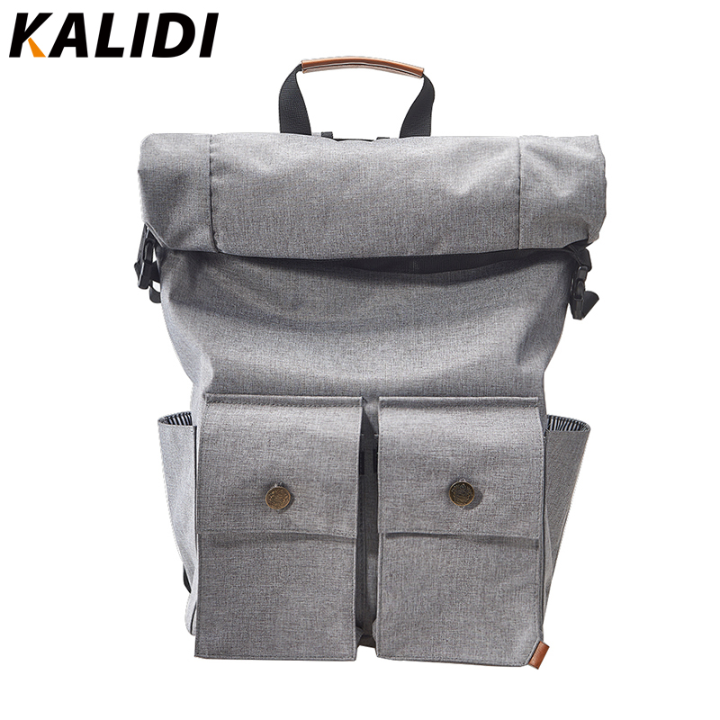 KALIDI Waterproof Roll-top Closure Laptop Notebook Computer Backpack Rucksack for Men and Women School Hiking Travel Backpacks buttoned closure back cut and sew cap sleeve top