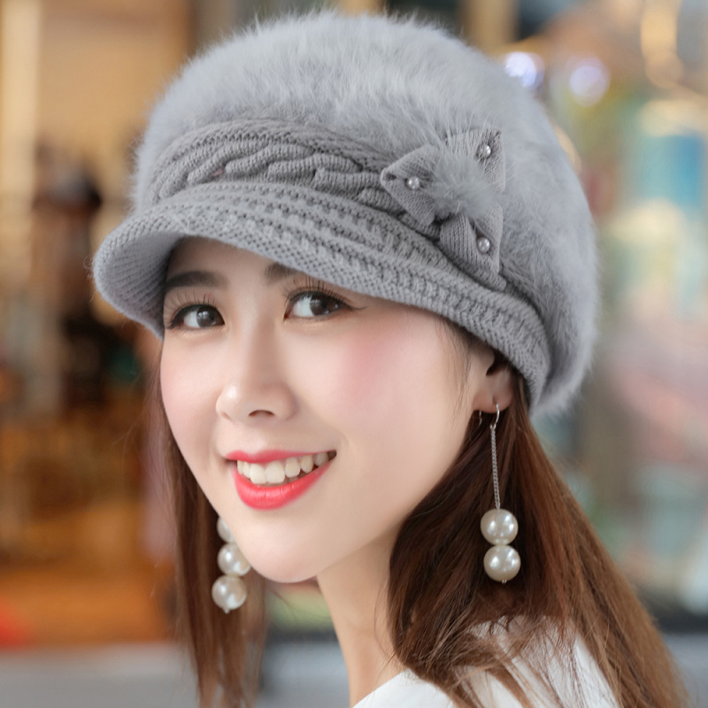 HT1918 New Autumn Winter Women Hats Solid Rabbit Fur for Casual Warm Thick Knitted Hat Female Berets Ladies Beret