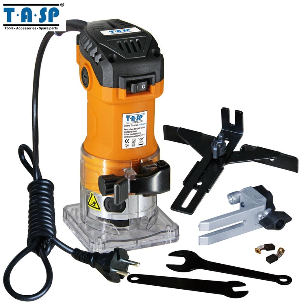 TASP MPR600 600 W eléctrico laminado borde 6,35mm Collet Mini máquina de talla de madera del Router carpintería herramientas de carpintería