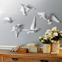 European Resin Birds Wall Hanging Pigeon Crafts Decoration Home Livingroom Sofa TV Background 3D Wall Sticker Mural Ornament Art