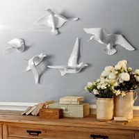 Pájaros de resina europeos que cuelgan la pared de la paloma artesanías hogar Decoración sofá para el salón de TV Fondo 3D pared pegatina ornamento mural arte