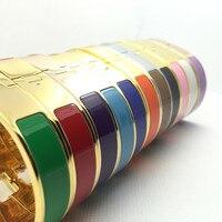 Classic 12mm H Bracelets Bangle Wristband Enamel Bracelet Silver Gold Color Love Bracelets For Women Pulseira