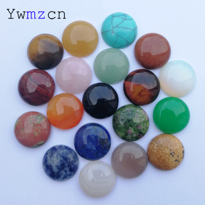 fashion 20MM Natural Stone mixed  round Beads for jewelry making cabochon charm Ring accessories 24Pcs/lot Free shipping