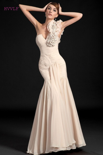 Elegant   Evening     Dresses   2019 Mermaid V-neck Chiffon Ruffles Long Formal Party   Evening   Gown Prom   Dresses   Robe De Soiree