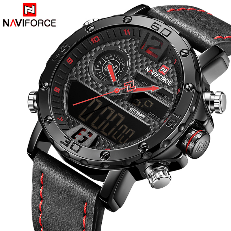 NAVIFORCE Luxury Brand Men's Military Sport Watch Men Waterproof LED Quartz Watches Male Digital Analog Clock Relogio Masculino naviforce new luxury men led quartz watch men s fashion military sport watches male date digital analog clock relogio masculino