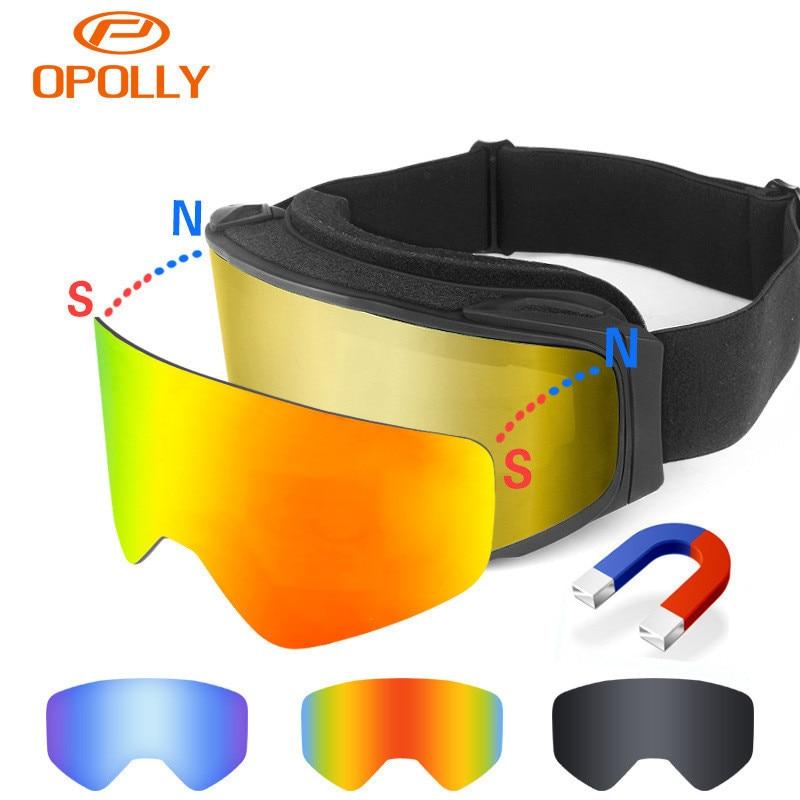 Nouveau brevet Ski lunettes remplaçable magnétique lentilles UV400 double anti-brouillard ski masque de Ski hommes femmes neige snowboard lunettes