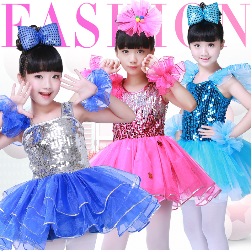 Girl's and boy's performance stage sequins cheerleading performance gauze pompon skirt children's Modern Dance costume JQ-066