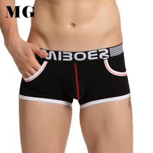 Mr.Gun 4pcs/pack Underpants Man Cotton Boxer Shorts Cotton Boxer Cuecas Trunks w Pocket Pattern Underwear Panties Homme Boxeur(China)