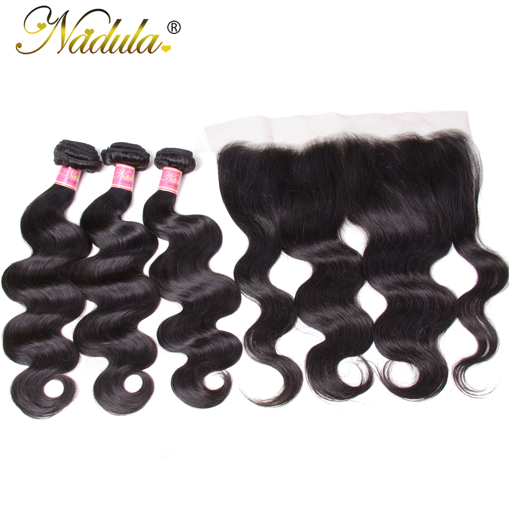 Nadula Malaysian Body Wave Hair With Frontal 13 4 Ear to Ear Lace Frontal Closure With