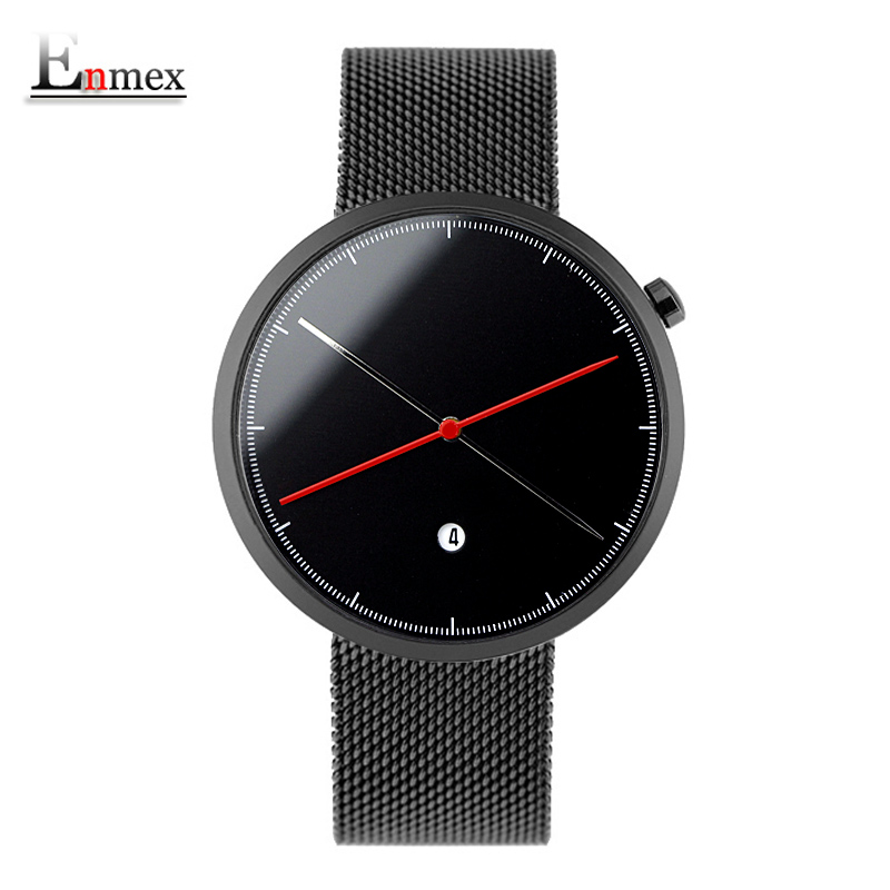 Enmex creative style cool wristwatch two balance hands with calendar stainless steel strap fashion Stylish clock quartz watch 2017 gift doobo creative style cool wristwatch two balance hands with fine scale casual leather strap fashion quartz watch men