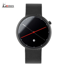 Фотография Enmex creative style cool wristwatch two balance hands with calendar stainless steel strap fashion Stylish clock quartz watch
