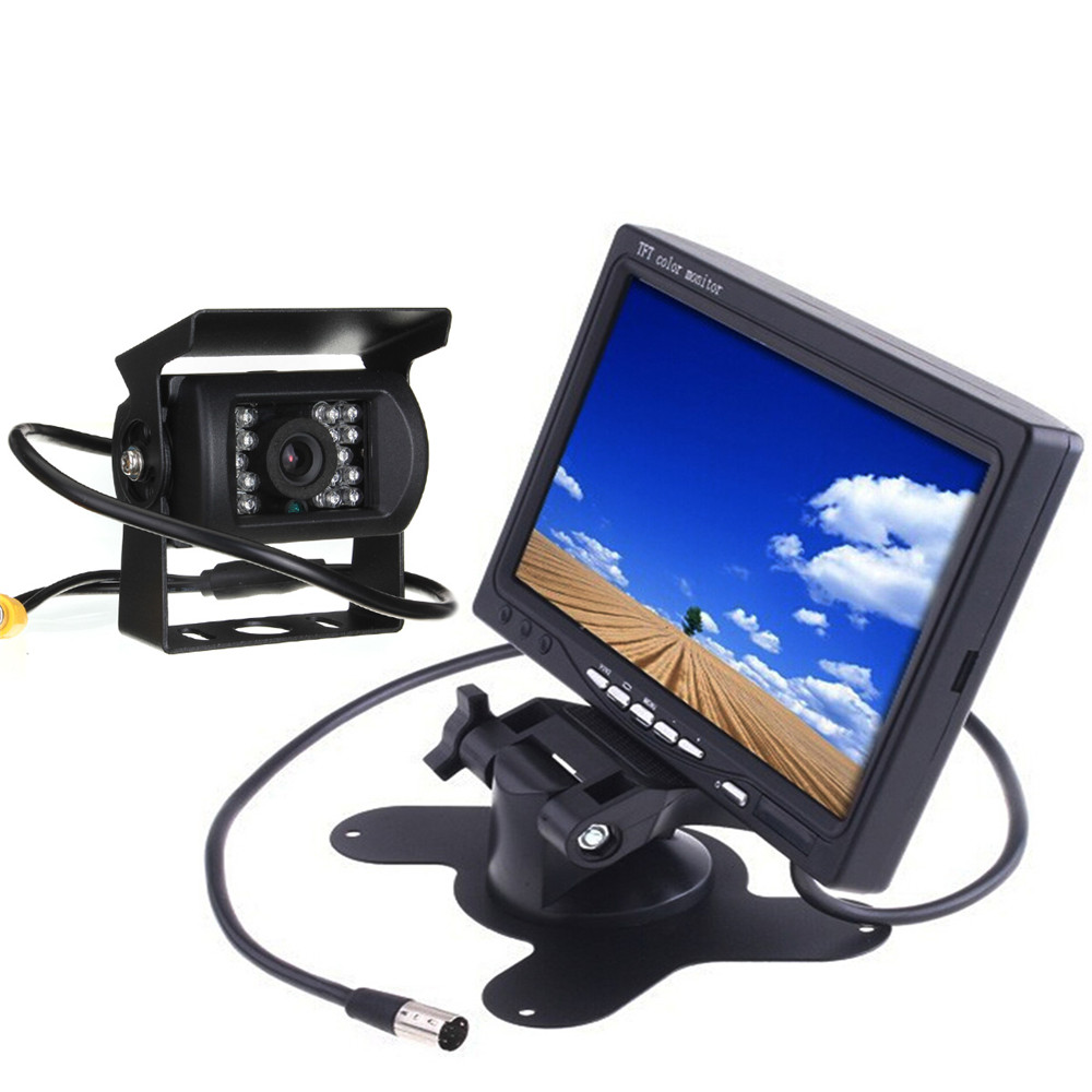 imágenes para 12 V IR Cámara de Marcha Atrás Kit de Cámara CCD de Copia de seguridad + 7 Pulgadas TFT LCD Monitor Para Van Bus Camión