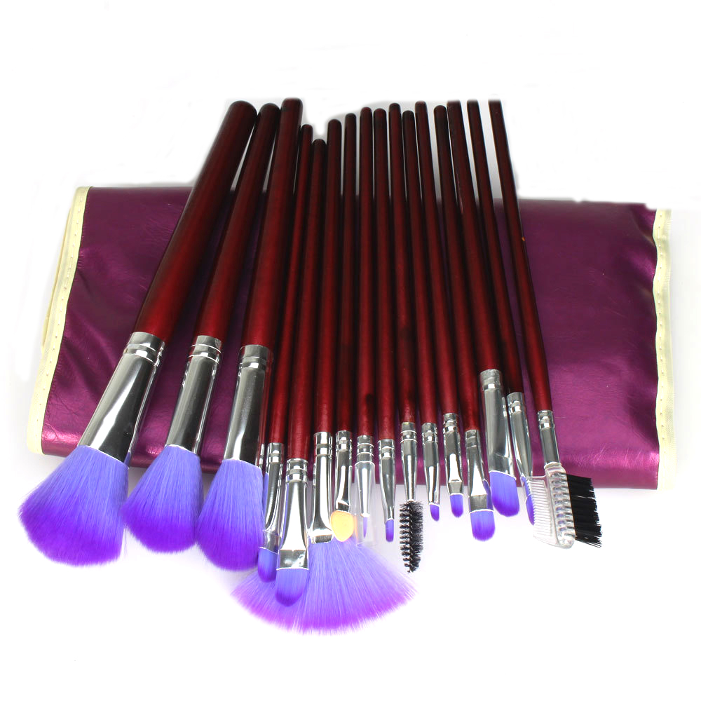 все цены на Professional 16Pcs Purple Makeup Brushes Cosmetic Brush Set with Leather Case MakeUp Beauty Tool онлайн