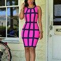 Лето Bodycon Dress O-образным Вырезом Танк Рукавов Лоскутная Женщины Sexy Dress Vestidos Бальные Платья