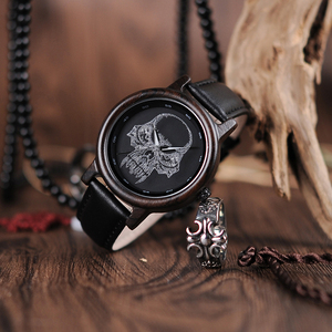 Image 3 - ボボ鳥 WP24 シンプルな竹メンズ · レディースクールなスカルデザインメガネクォーツ腕時計