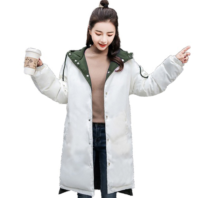 2019 New Design Women Winter Jacket Double Two Sides hooded Oversized Loose Female Coat Long Padded   Parka   Breasted Buttons