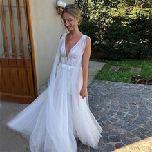Simple Boho Wedding Dresses Sexy V-neck White Ivory Bling Sparkle Tulle Beach Bridal Gowns vestido de novia