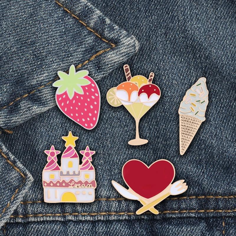 Cute Sweet Girl Women Brooch Pin House Strawberry Ice Cream Dessert Pins Badge Denim Skirt Accessories Daughter Birthday Gifts(China)