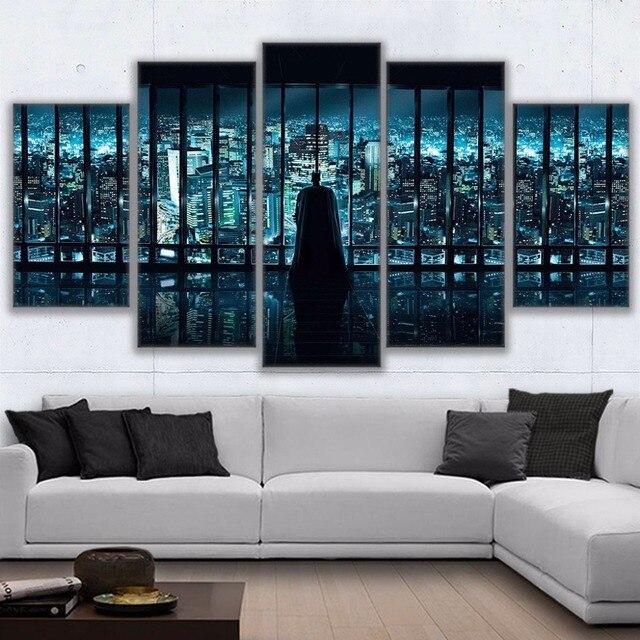 Vải In HD Vẽ Tranh Tường Nghệ Thuật Poster 5 Cái Batman Nhìn Ra Thành Phố Cảnh Hình Ảnh Đối Với Decor Kids Room Khuôn Khổ