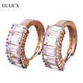 GULICX Trendy Fashion Small Circle Women Earring for Wedding  Gold Plated Hoop Earring CZ Zirconia White Crystal Jewelry E127