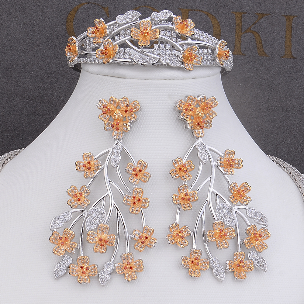 Image 4 - GODKI Big Luxury Plum blossom African Cubic Zircon CZ Nigerian Jewelry sets For Women Wedding Indian Beads Bridal Jewelry Sets-in Jewelry Sets from Jewelry & Accessories
