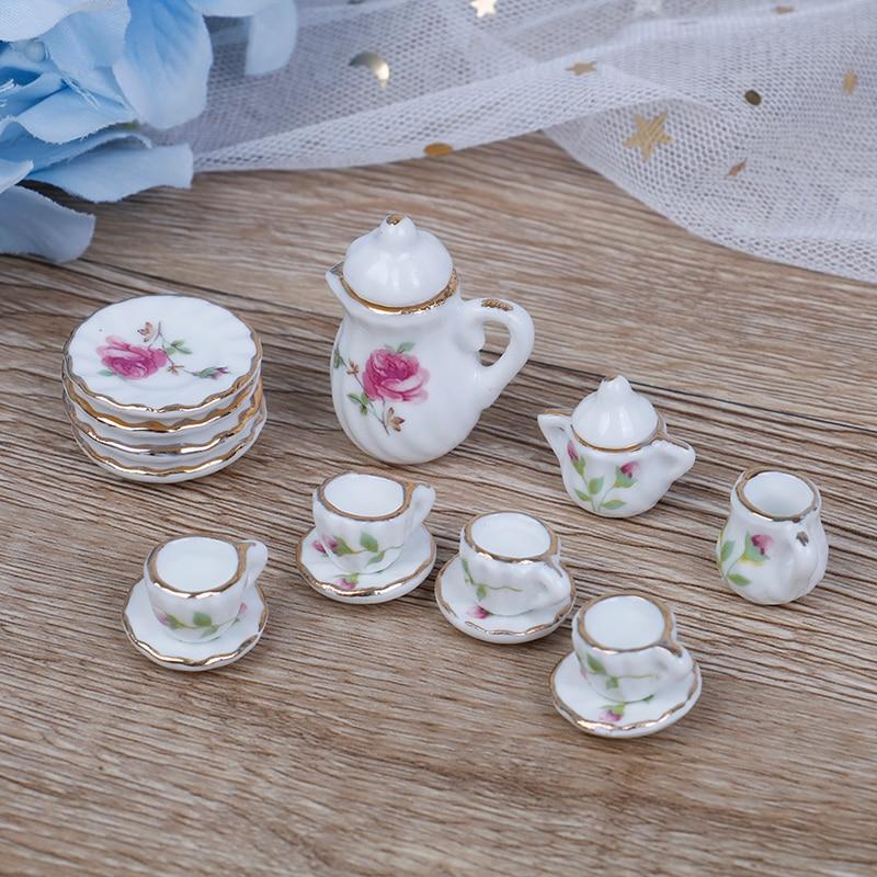 15PCS  1/12 Miniature Doll House Pink Flower Patten Porcelain Coffee Tea Cups Ceramic Tableware Dollhouse Kitchen Accessories
