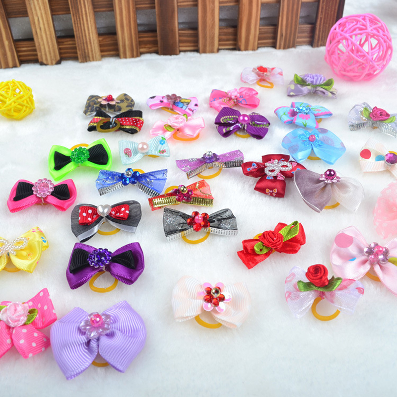 New 10Pcs/lot Bows Hairpins For Dogs Cat Hair Clips Gift Pet Grooming Accessories Products DIY Dog Hair Flower Random Color