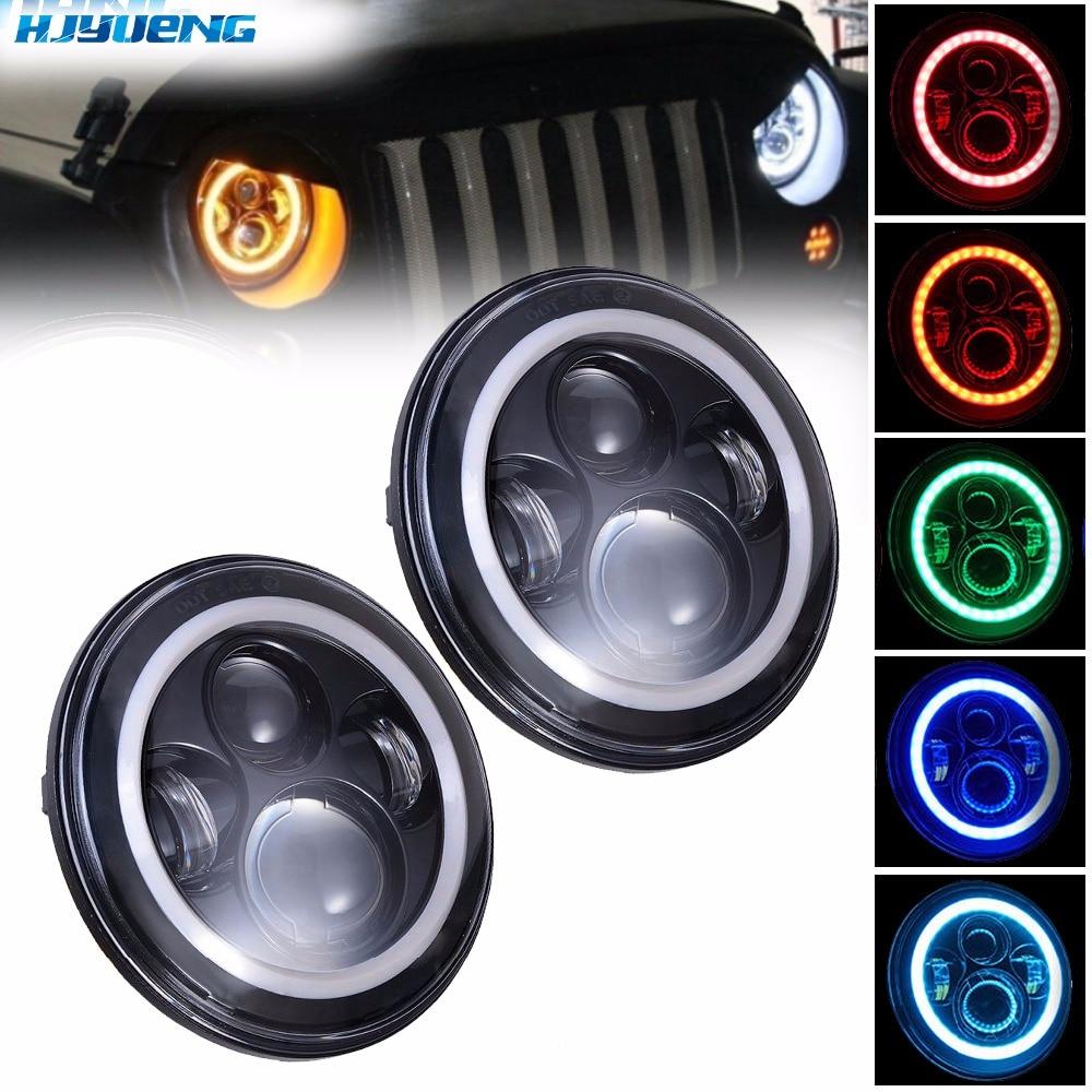7inch For Jeep Wrangler 97-16 JK TJ Hummer Defender LED Halo Headlights Kit LED Headlight Hi/low Auto Headlight With Angle Eye