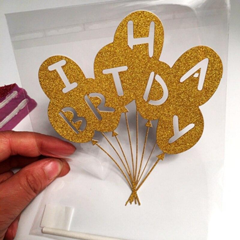 2pcs Silver Gold Glisten Birthday Balloon cupcake toppers picks Kids birthday party wedding Cake Decoration Cake dessert Supplie