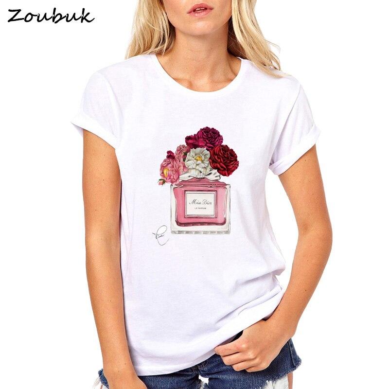 2018 harajuku t shirt frauen Blume Parfüm t-shirt frau baumwolle kurzen ärmeln casual t shirts plus size tops tees