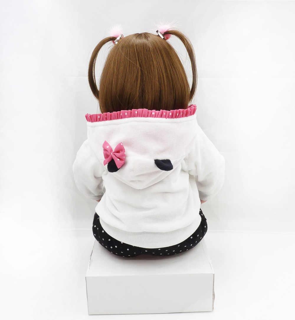 Кукла bebes reborn, 47 см, мягкая силиконовая кукла для маленькой девочки, Boneca Reborn Brinquedos Bonecas, детские подарки на день, игрушки для сна