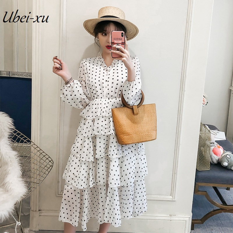 Ubei2019 printemps grande sizeXL-5XL robe point doux col en V robe à gâteau manches longues blanc en mousseline robe mi-longue
