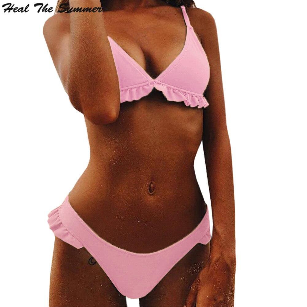 e19c496bb Heal The Summer 2018 New Women Bikini Swimwear Set Swimsuit Solid color  Have Pad Female Sexy Bikini Set Beachwear Bathing Suit