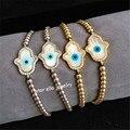 Blue Evil Eye Braided Bracelet Turkish Amulet Micro Pave CZ Hamsa and 24K Gold Plated Beads Macrame Bracelets for Women & Men