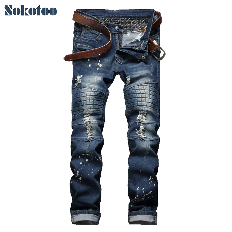 Sokotoo Men's casual patch painted hole ripped biker jeans Fashion slim straight skinny stretch denim pants Long trousers 2017 fashion patch jeans men slim straight denim jeans ripped trousers new famous brand biker jeans logo mens zipper jeans 604