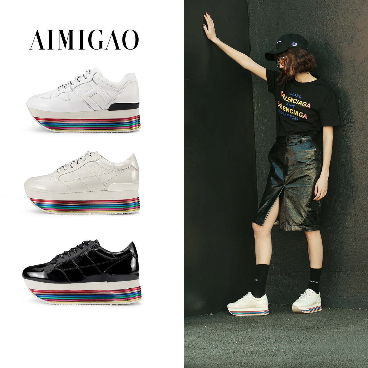 AIMIGAO 2018 New Spring Flat Platform Women Leather Sneakers Shoes Fashion Rainbow Thick Bottom Comfortable Women'S Casual Shoes minika new arrival 2017 casual shoes women multicolor optional comfortable women flat shoes fashion patchwork platform shoes