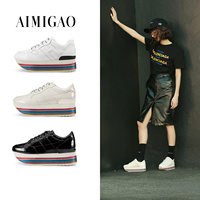 AIMIGAO 2018 New Spring Flat Platform Women Leather Sneakers Shoes Fashion Rainbow Thick Bottom Comfortable Women'S Casual Shoes
