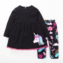 hot deal buy girls unicorn sets 2018 new arrivals 100% cotton children's clothing black girls dress + elastic pants children's sets unicorn
