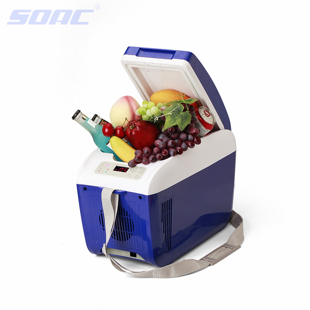 8L12V Car Refrigerator Automotive or Home Cold Heating Dual-use Car Refrigerator Electric Cooler Blue Strong 90W