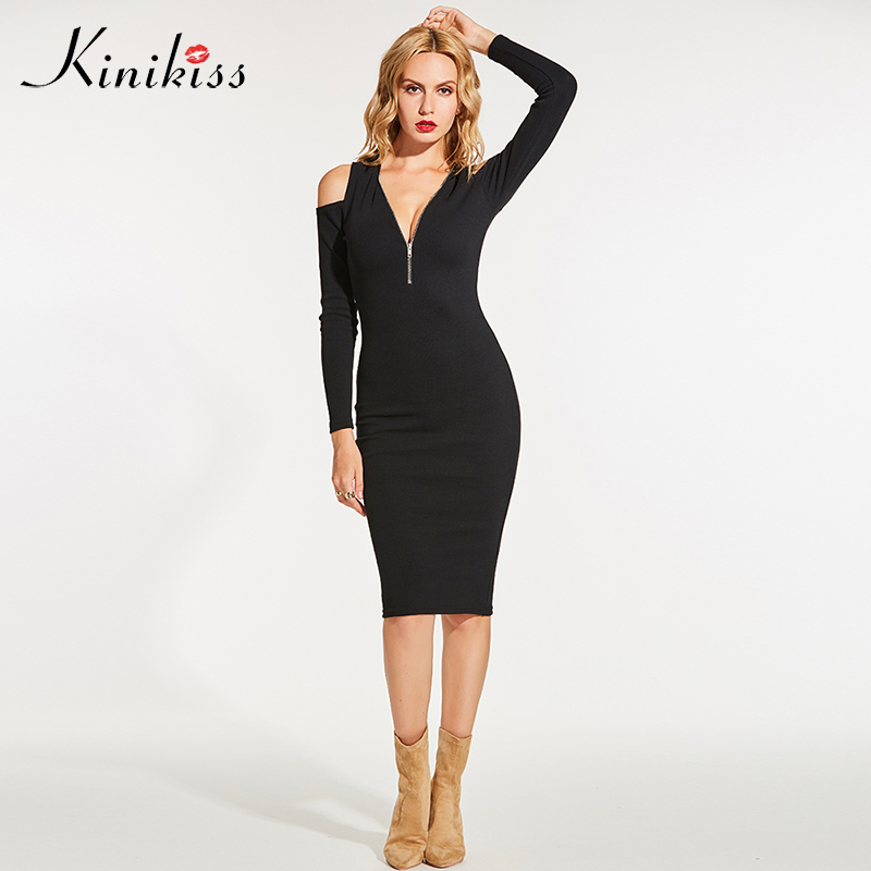 Kinikiss 2018 winter sweater elastic black bodycon dress cashmere women sweater dress zippers sexy knitted sweater christmas