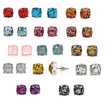 Silver shinny Square Glitter Stud Earrings various color Cute Stud Earrings for Women