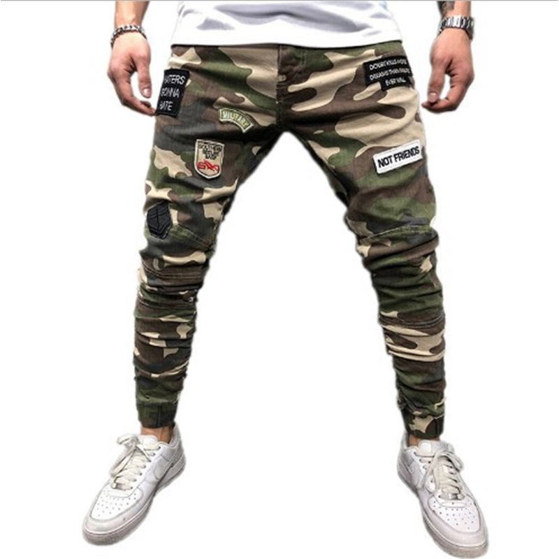 Mens Skinny Stretch Denim Pants Camouflage Pleated Ripped Slim Fit   Jeans   Trousers 2019 Hot cargo pants   jeans   men Clothing