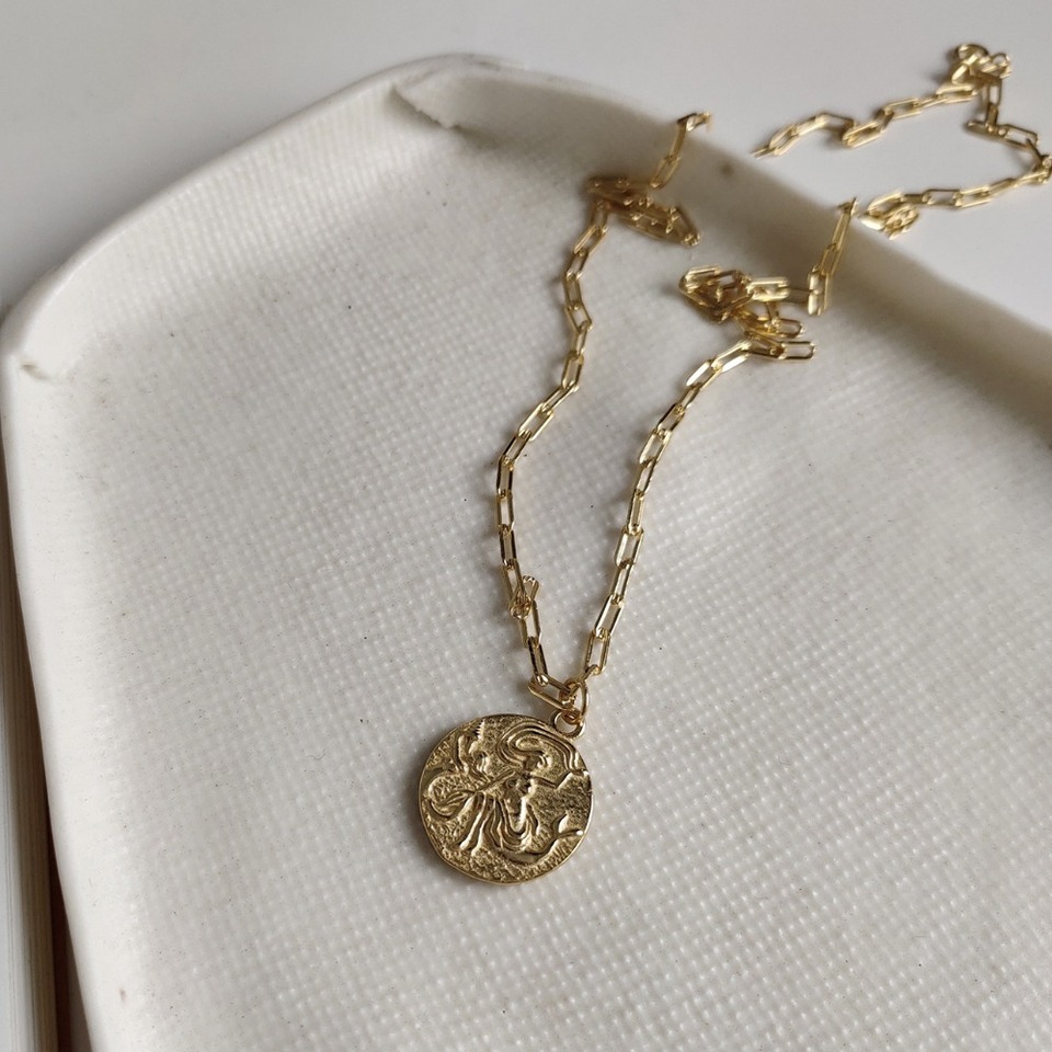 925 Sterling Silver Gold Plated Roman Coin Necklace Baroque Coin NecklacesHG