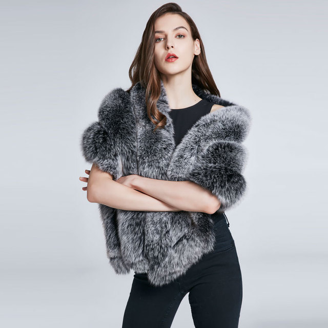 Women's winter coat with fox fur collar warm fur shawl shawl scarves real fur coat warm stripes 2018 new discount sales