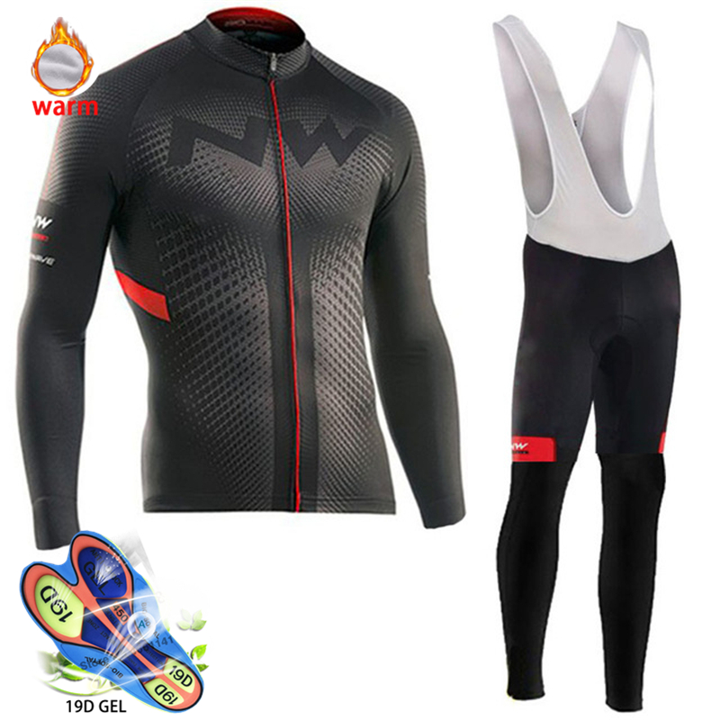 2019 Pro Team Winter Thermal Fleece Cycling Clothes Men Long Sleeve Jersey Suit Outdoor Riding Bike MTB Clothing Bib Pants Set